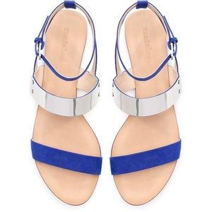 Zara Royal Blue Metal Plate Wide Strap Sandals